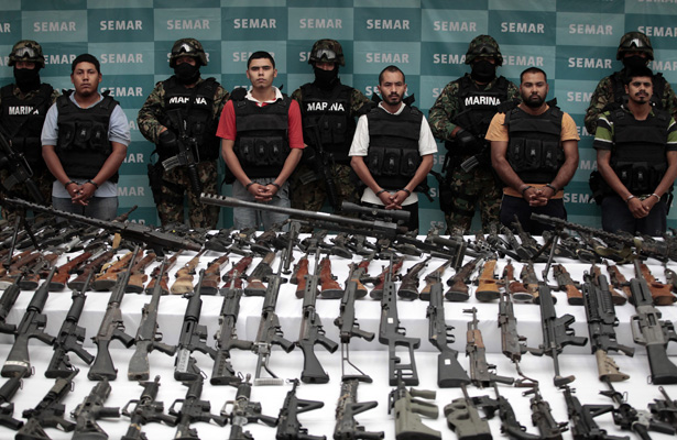 Mexican Navy seizes drugs and weapons from the Las Zetas drug trafficking organization (Jorge Lopez/Reuters).