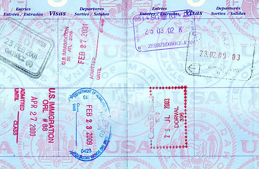 Passport stamps from London, Amsterdam, Brussels, Italy, France, Poland, Prague, Montreal  Tiffini, Creative Commons