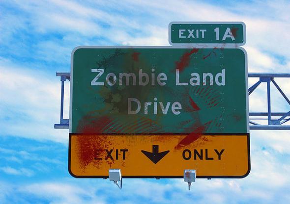 Zombie interstate sign via manuscriptreplica/flickr. Creative Commons 2.0 license.