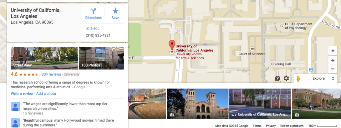 UCLA Campus shown on Google Maps, accompanied by volunteered geographic information.