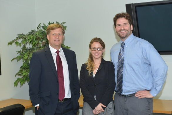 Ambassador Michael McFaul with UCLA students Izabela Chmielewska and Kurt Klein.