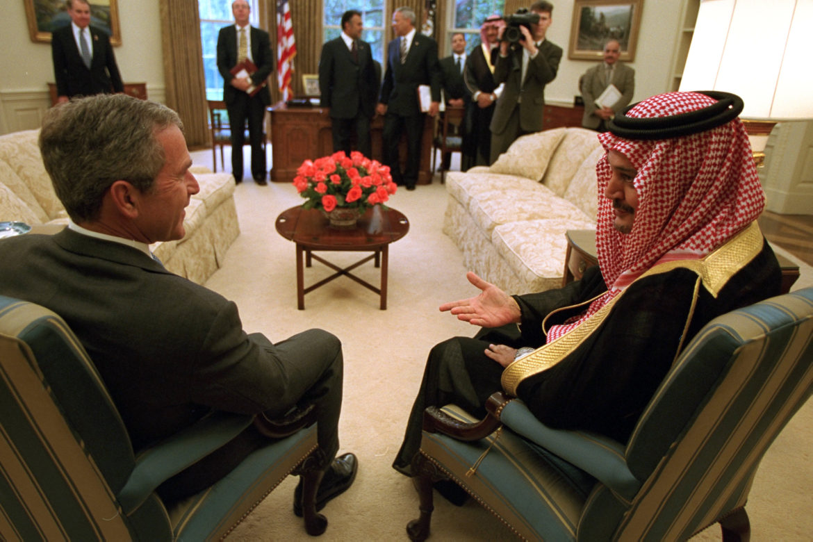 President George W. Bush meets with Foreign Minister Saudi Al-Fail of Saudi Arabia Thursday, Sept. 20, 2001, in the Oval Office.  Photo by Paul Morse, Courtesy of the George W. Bush Presidential Library
