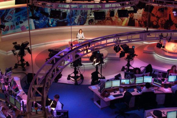 at the Al Jazeera broadcast center in Doha, Qatar